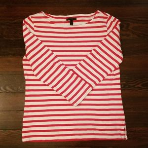 JCrew Red Striped 3/4 Sleeve Boatneck Top
